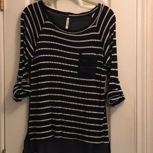 Navy blue striped top with front pocket
